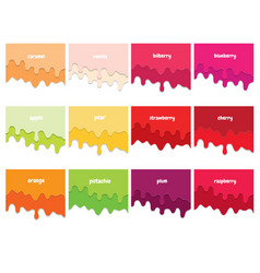 melted flowing fruit syrup set 3d paper cut out vector image
