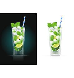 Mojito glass with pipe vector