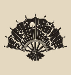 monochrome a fan with a pattern vector image