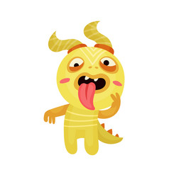 Naughty funny monster showing tongue vector