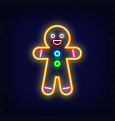 neon gingerbread man vector image