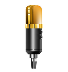 old school microphone vintage mic golden color vector image