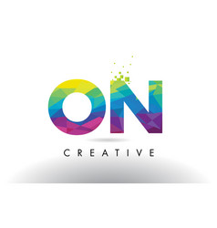on o n colorful letter origami triangles design vector image