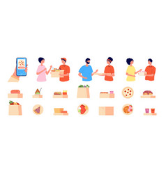 online order and delivery phone food shopping vector image
