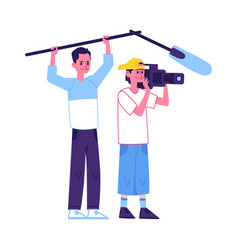 operator or camera people shooting a tv show flat vector image