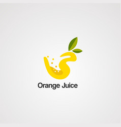 orange juice logo icon element and template vector image