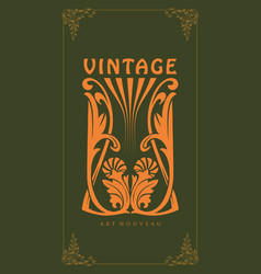 Ornament carving art nouveau style vintage vector