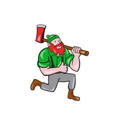 Paul Bunyan LumberJack Axe Kneeling Cartoon vector image