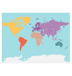 Political map world with antarctica continents vector