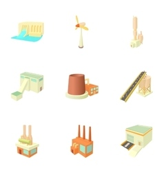Production plant icons set cartoon style vector