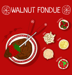 Recipe for walnut fondue with ingredients vector