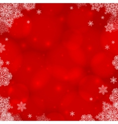 Red ornate Christmas background with snowflakes vector image
