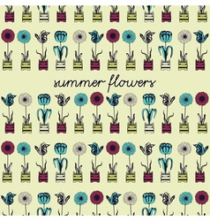 Retro Summer Flowers Pattern vector image