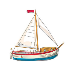 sailing boat yacht seascape resort beach rest vector image