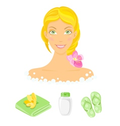 Sauna girl and beauty care icons vector image