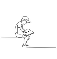 Schoolboy sitting and writing with pencil on book vector