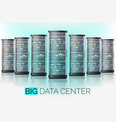 server room hosting big data center cloud vector image