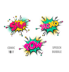 Set comic text speech bubble shh xoxo pow vector