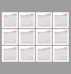 set identical light calendars 2019 months flat vector image