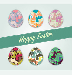 Set multi-colored easter eggs with a pattern vector