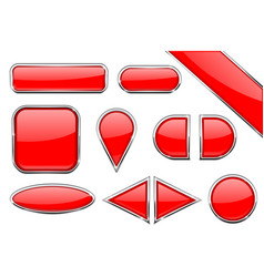 set of red glass buttons with metal frame vector image