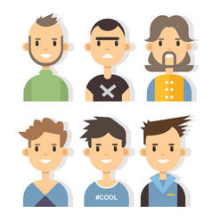 Set of stylish male characters in modern vector