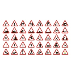 Set warning road signs vector