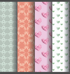 sets geometric patterns and pink roses vector image