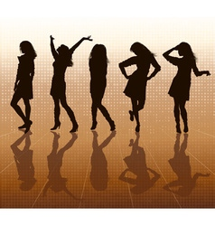 Silhouette of Women Posing vector image