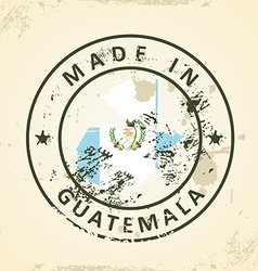 Stamp with map flag of Guatemala vector image