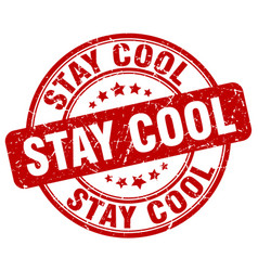 Stay cool red grunge stamp vector