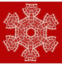 Stylized indian mandala over red Vintage tribal vector