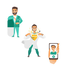 Super doctor surgeon smartphone avatar vector