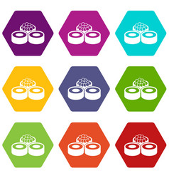 sushi icon set color hexahedron vector image