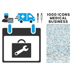 Toolbox Calendar Day Icon With 1000 Medical vector image