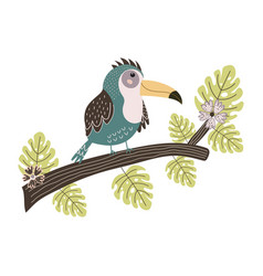 toucan sitting on branch cute tropical bird vector image