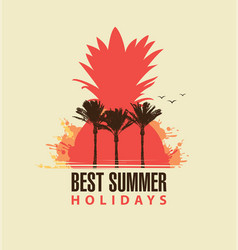 travel summer banner with palm trees and pineapple vector image