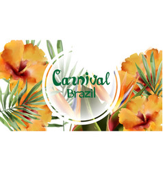 tropic flowers exotic frame watercolor vector image