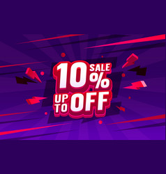 Up to 10 off sale banner promotion flyer retro vector