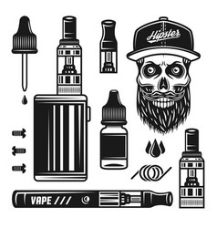 Vape devices e-cigarettes set of objects vector