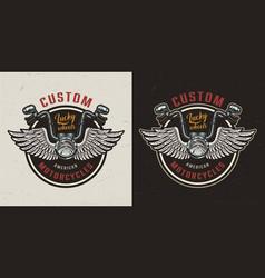 Vintage custom motorcycle colorful logotype vector
