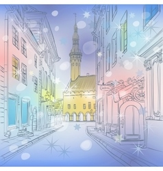 winter Medieval Old Town Tallinn Estonia vector image