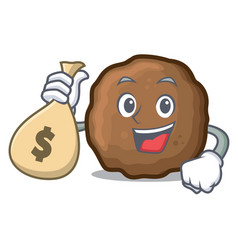 With money bag meatball character cartoon style vector