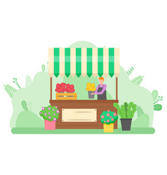 woman selling bouquets flowers on street vector image