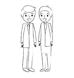 young couple avatars characters vector image