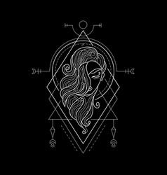 zodiac virgo geometri style vector image