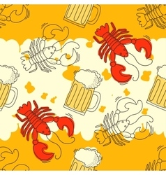 Beer and crawfish pattern vector image