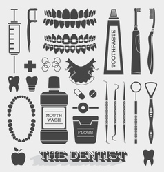 Dentist and Tooth Care Icons vector image vector image