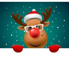 Greeting card Christmas card with reindeer vector image vector image