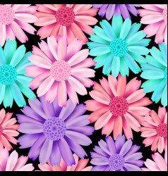 pink and blue flower seamless pattern vector image